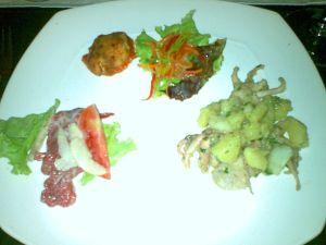 Clockwise, L to R: Beef Carpaccio; Mozzarella and Zuchinni Rolls; Octopus and Potato salad