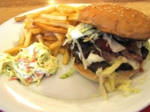 Moo with Cheese, Coleslaw and Fries