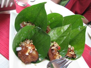 Fish in betel leaf